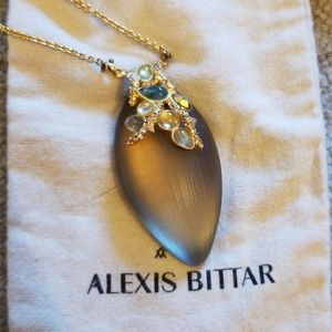 Alexis bittar gray lucite pendent neclace